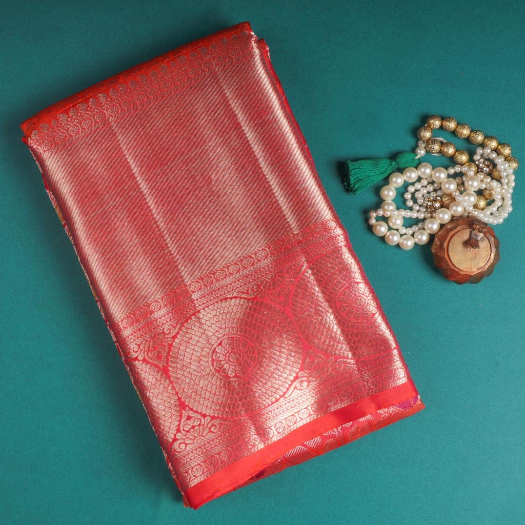 Punch Pink Kanjivaram Silk Handloom Saree With Jaal Design