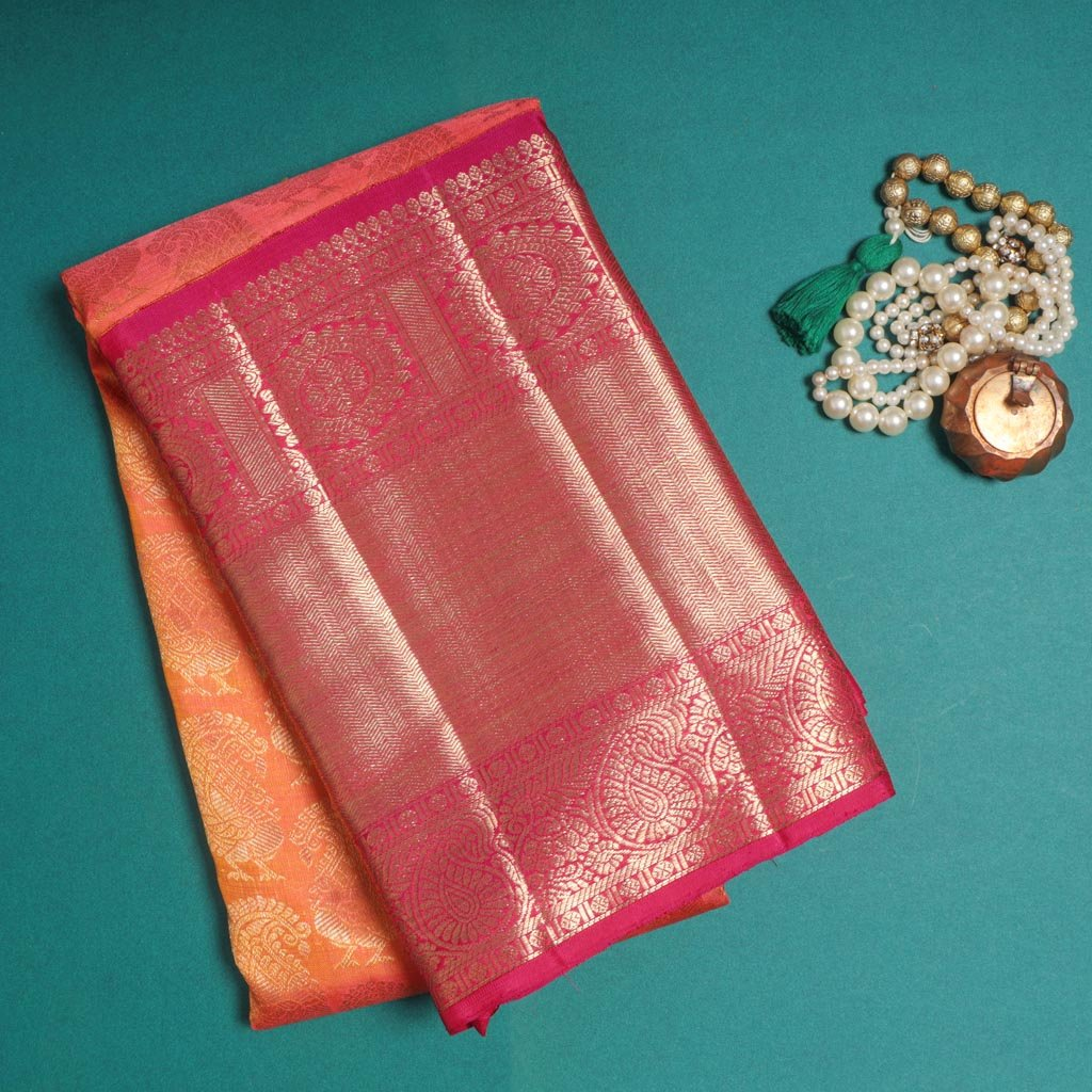 Dual Tone Orange Korvai Kanjivaram Silk Handloom Saree
