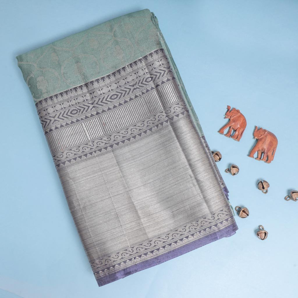 Mint Green Korvai Kanjivaram Silk Handloom Saree