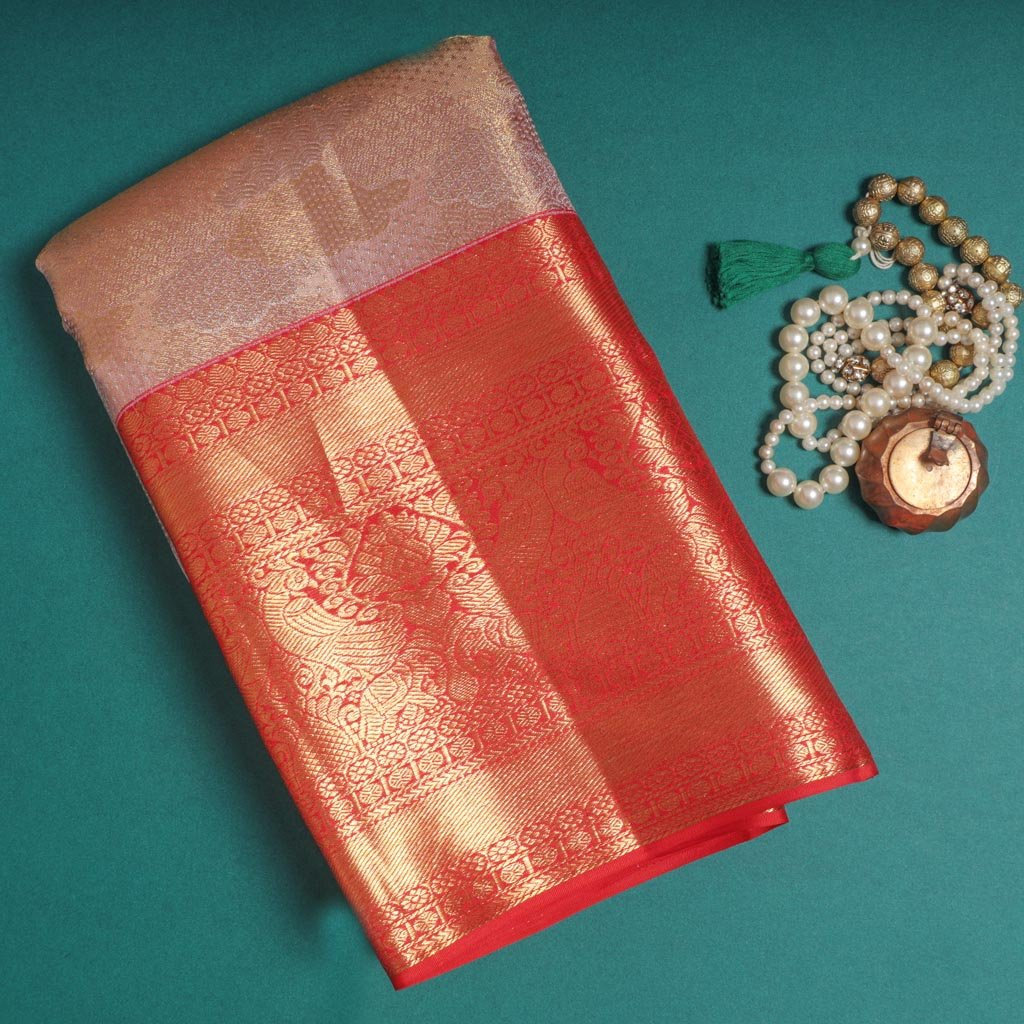 Rose Gold Tissue Korvai Kanjivaram Silk Handloom Saree
