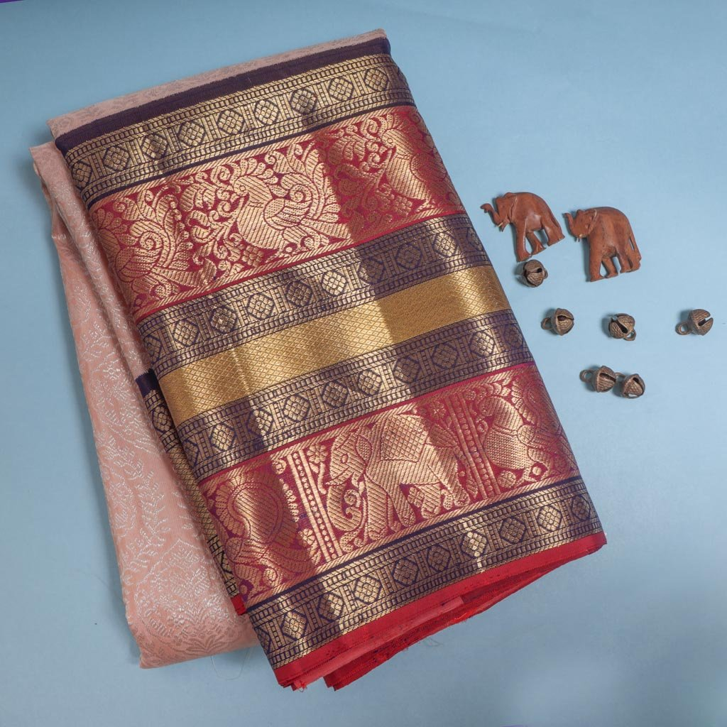 Soft Peach Korvai Kanjivaram Silk Handloom Saree