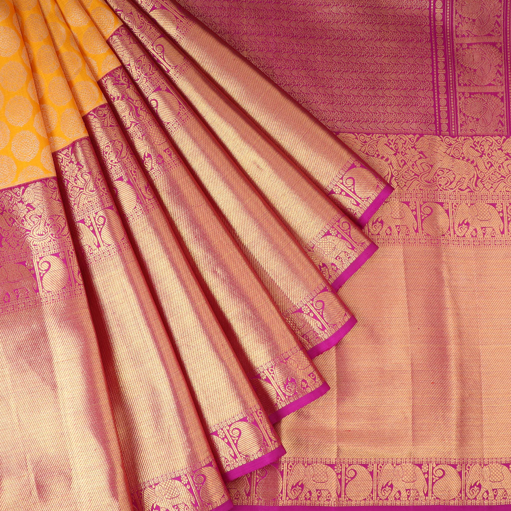 Mango Yellow Korvai Kanjivaram Silk Handloom Saree