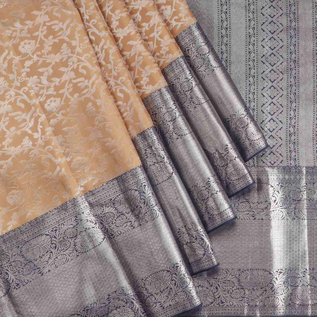 Sand Brown Korvai Kanjivaram Silk Handloom Saree
