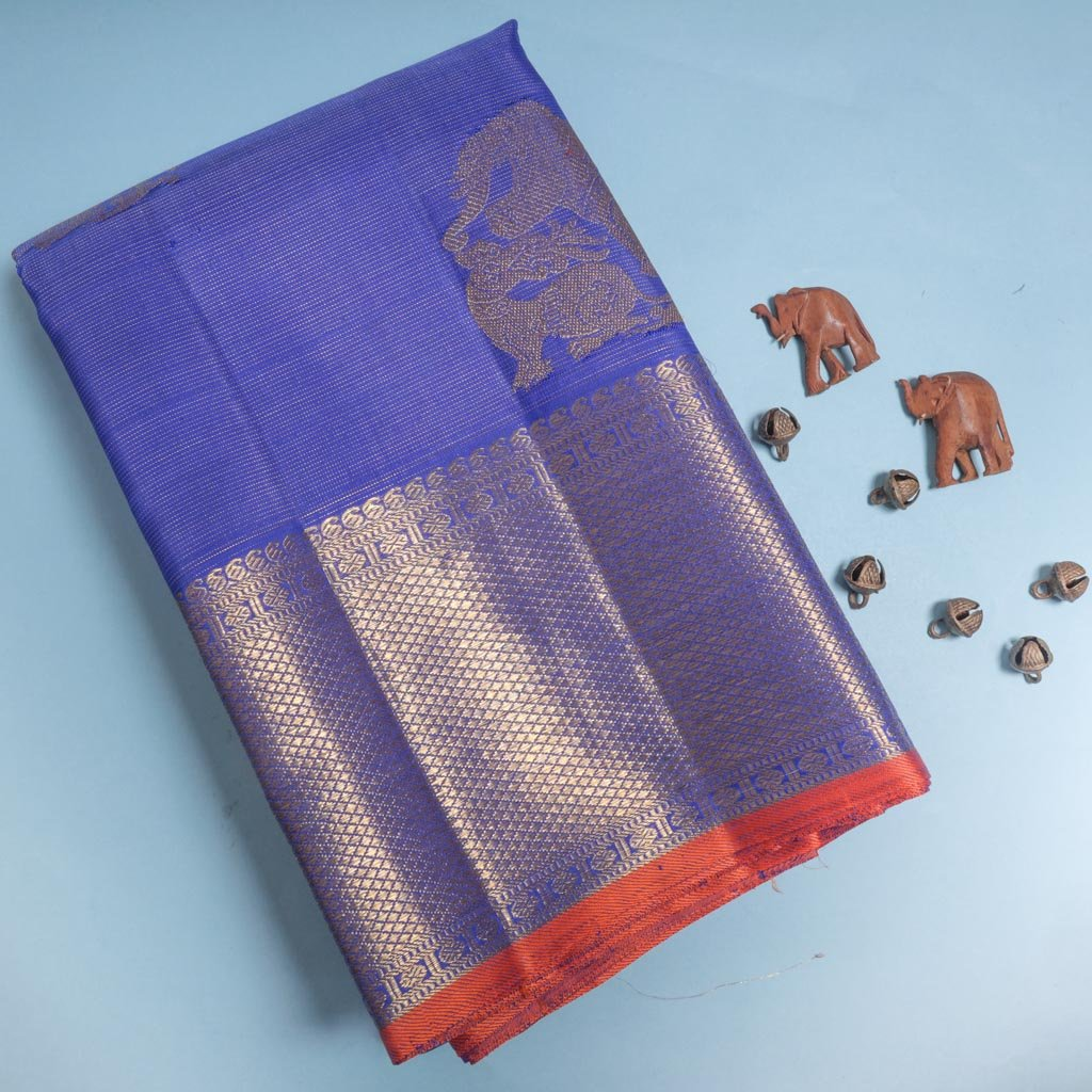 Lavender Blue Kanjivaram Silk Handloom Saree With Elephant And Yaali Motifs