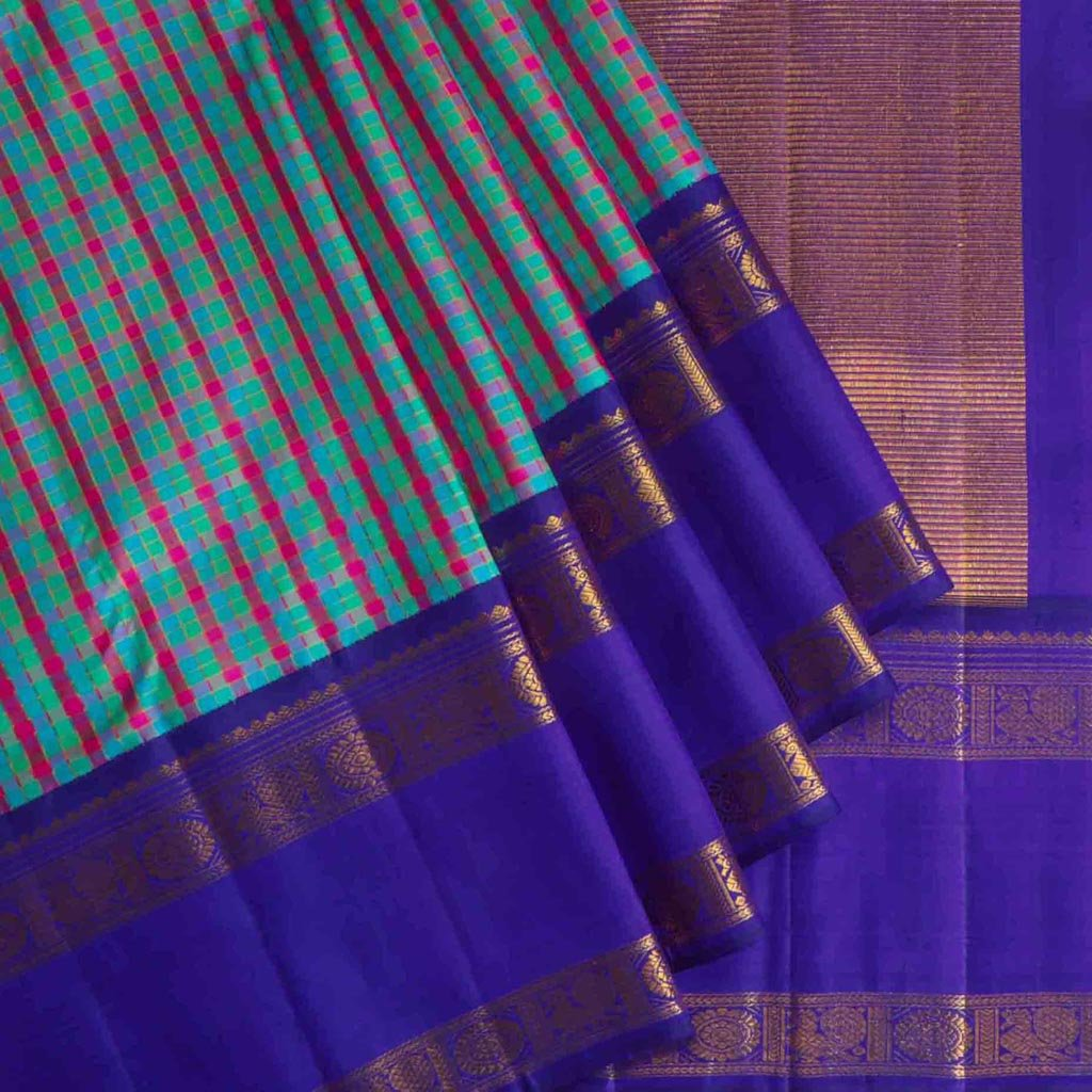 Multicolor Korvai Kanjivaram Silk Handloom Saree