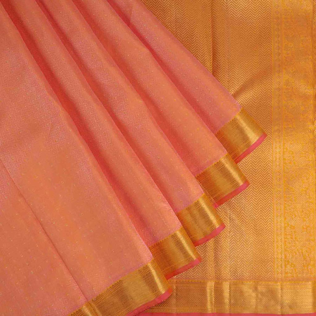 Peach Pink Kanjivaram Silk Handloom Saree With Jaal Design