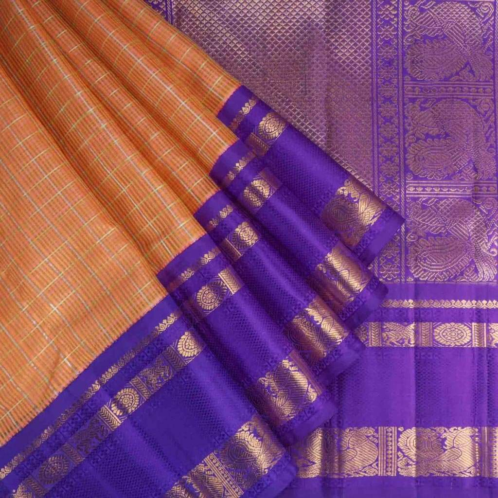 Carrot Orange Korvai Kanjivaram Silk Handloom Saree
