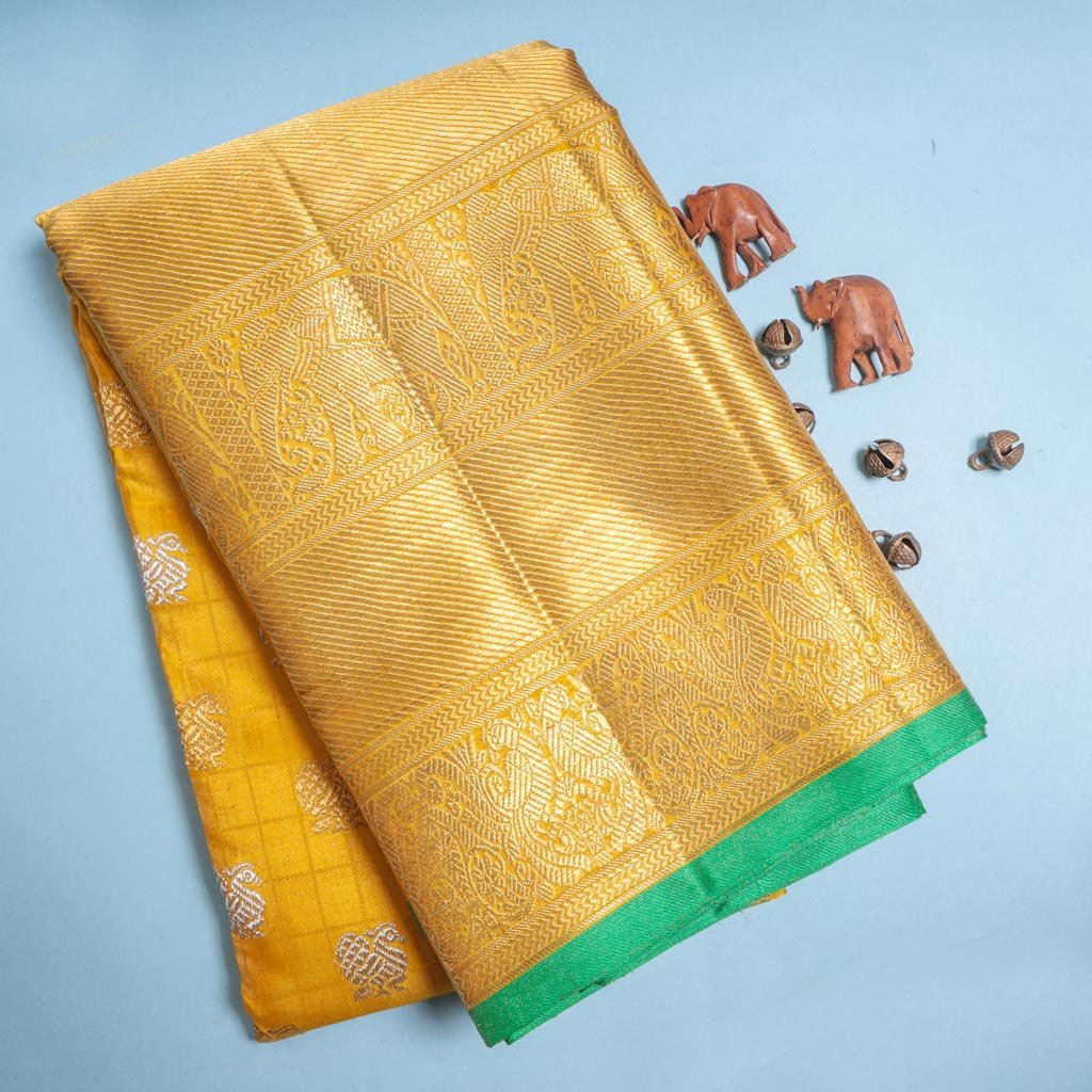 Medallion Yellow Kanjivaram Silk Handloom Saree With Peacock Buttas