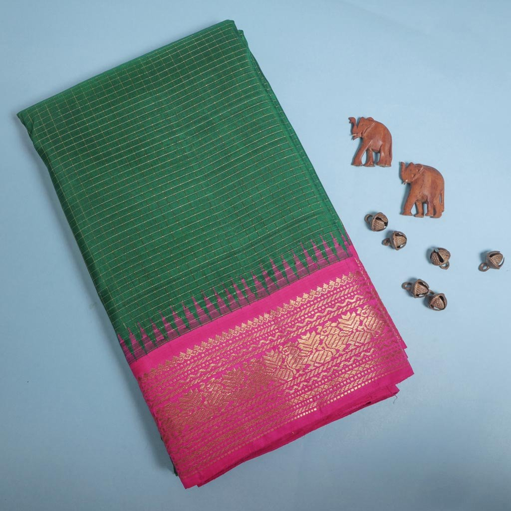 Forest Green Korvai Kanjivaram Silk Handloom Saree