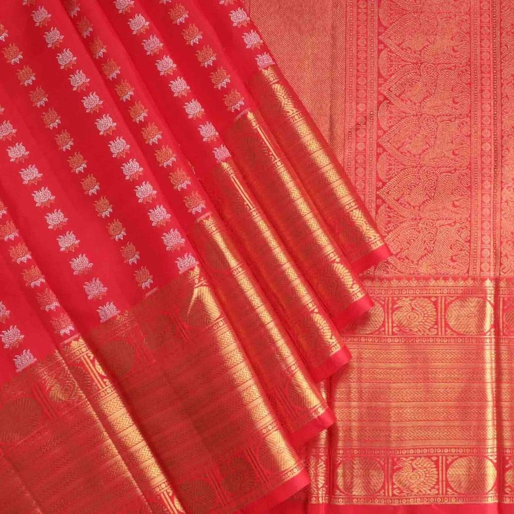 Berry Red Kanjivaram Silk Handloom Saree With Lotus Buttas
