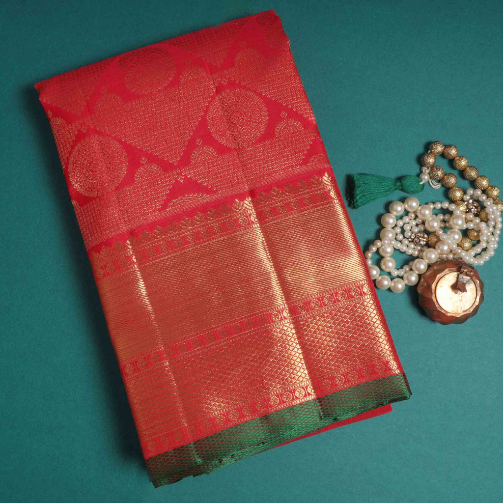 Ruby Kanjivaram Silk Handloom Saree With Jaal design