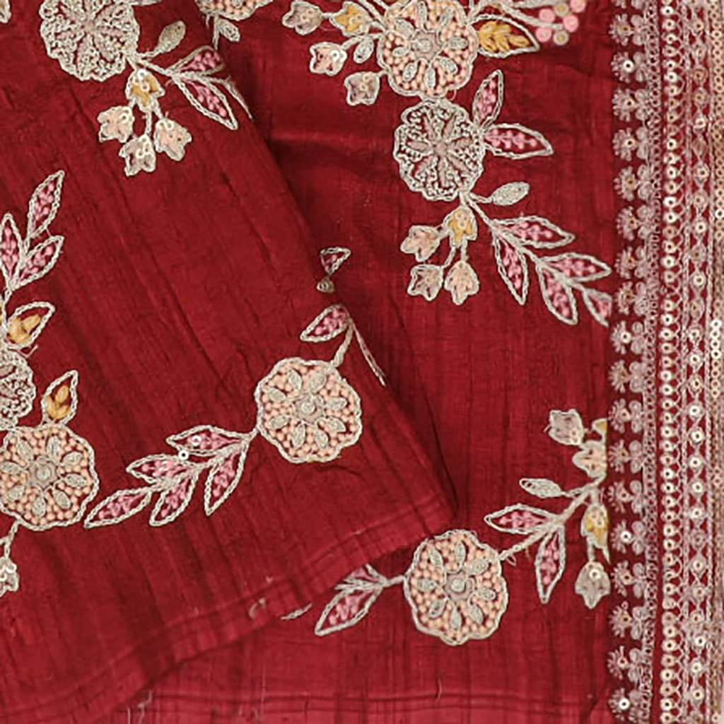 Crimson Red Bandhani Printed Organza Saree