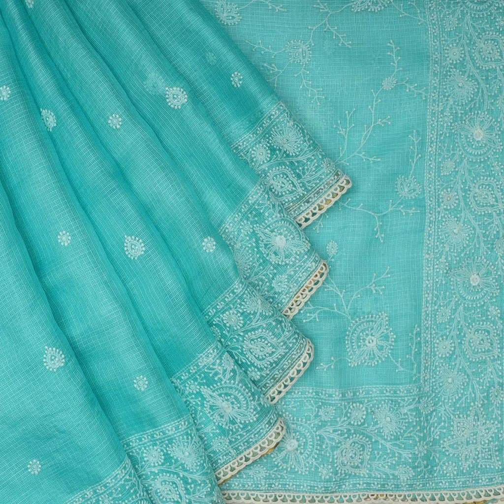 Cyan Blue Kota Silk Chikankari Embroidery Saree