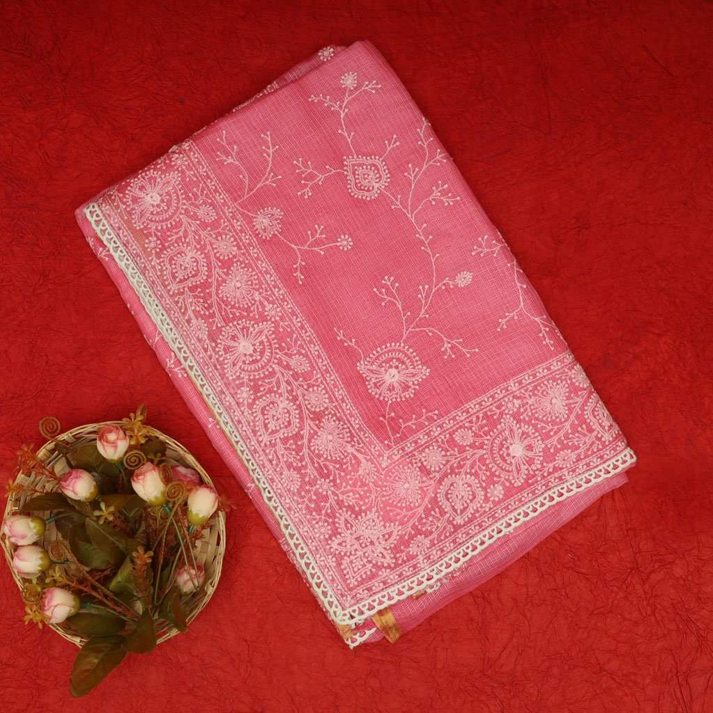 Berry Pink Kota Silk Chikankari Embroidery Saree
