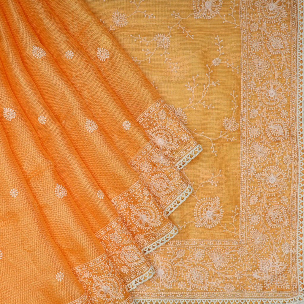 Marmalade Orange Kota Silk Chikankari Embroidery Saree