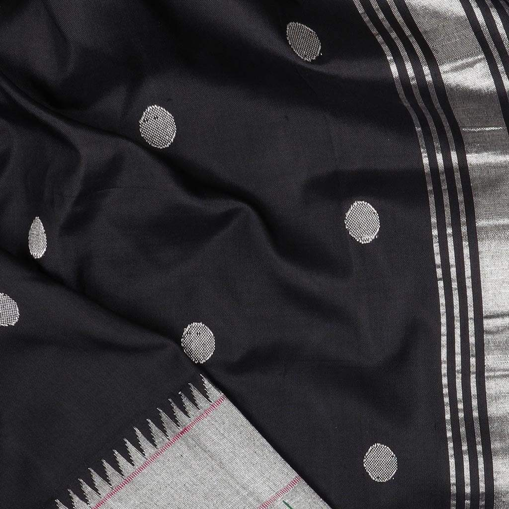 Black Paithani Silk Handloom Saree With Polk Dots