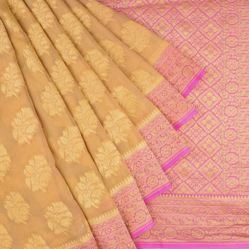 Beige Banarasi Georgette Saree With Floral Motifs