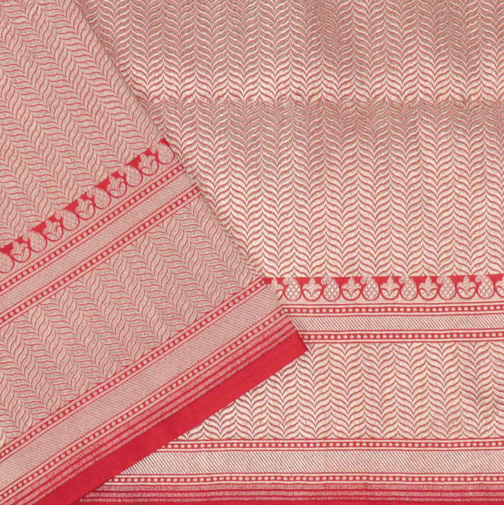 Cherry Red Banarasi Silk Handloom Saree With Floral Jaal
