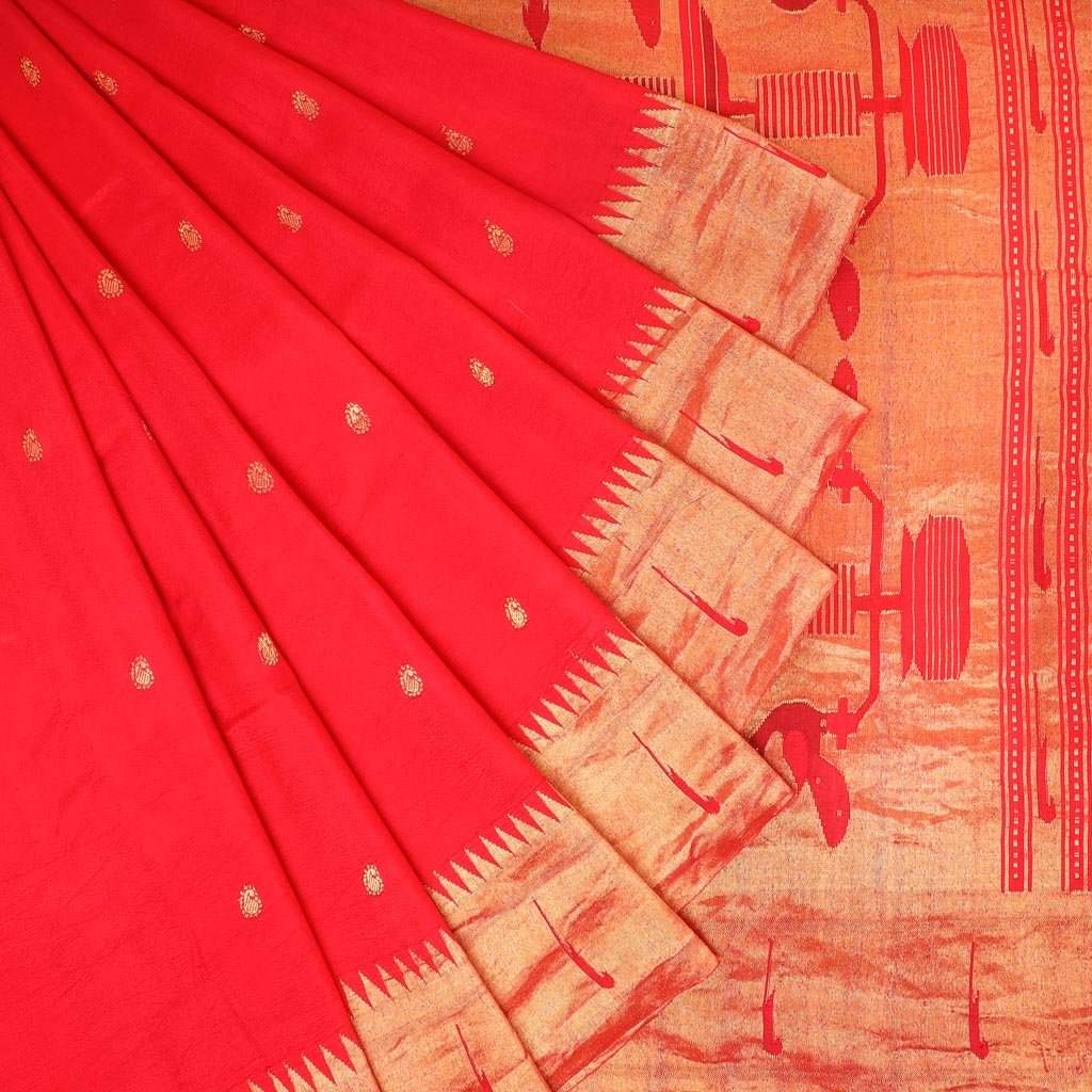 Cherry Red Painthani Silk Handloom Saree With Paisley Buttas
