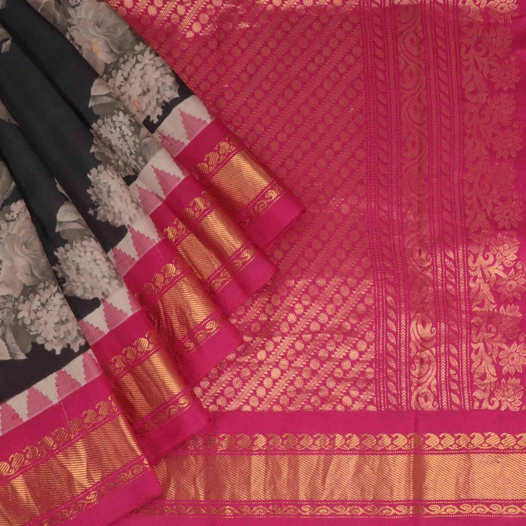 Black Floral Printed Gadwal Silk Handloom Saree