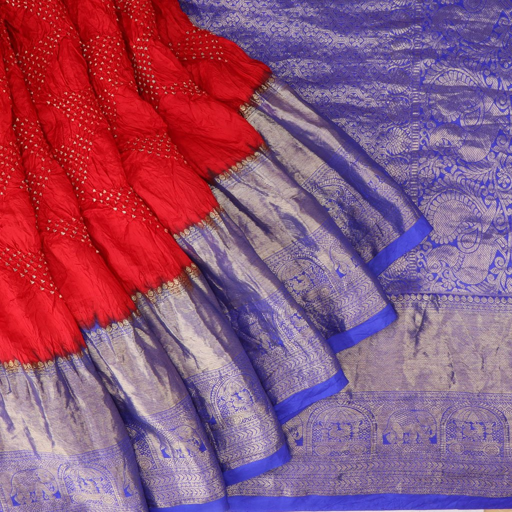 Ruby Red Bandhani Kanjivaram Silk Handloom Saree