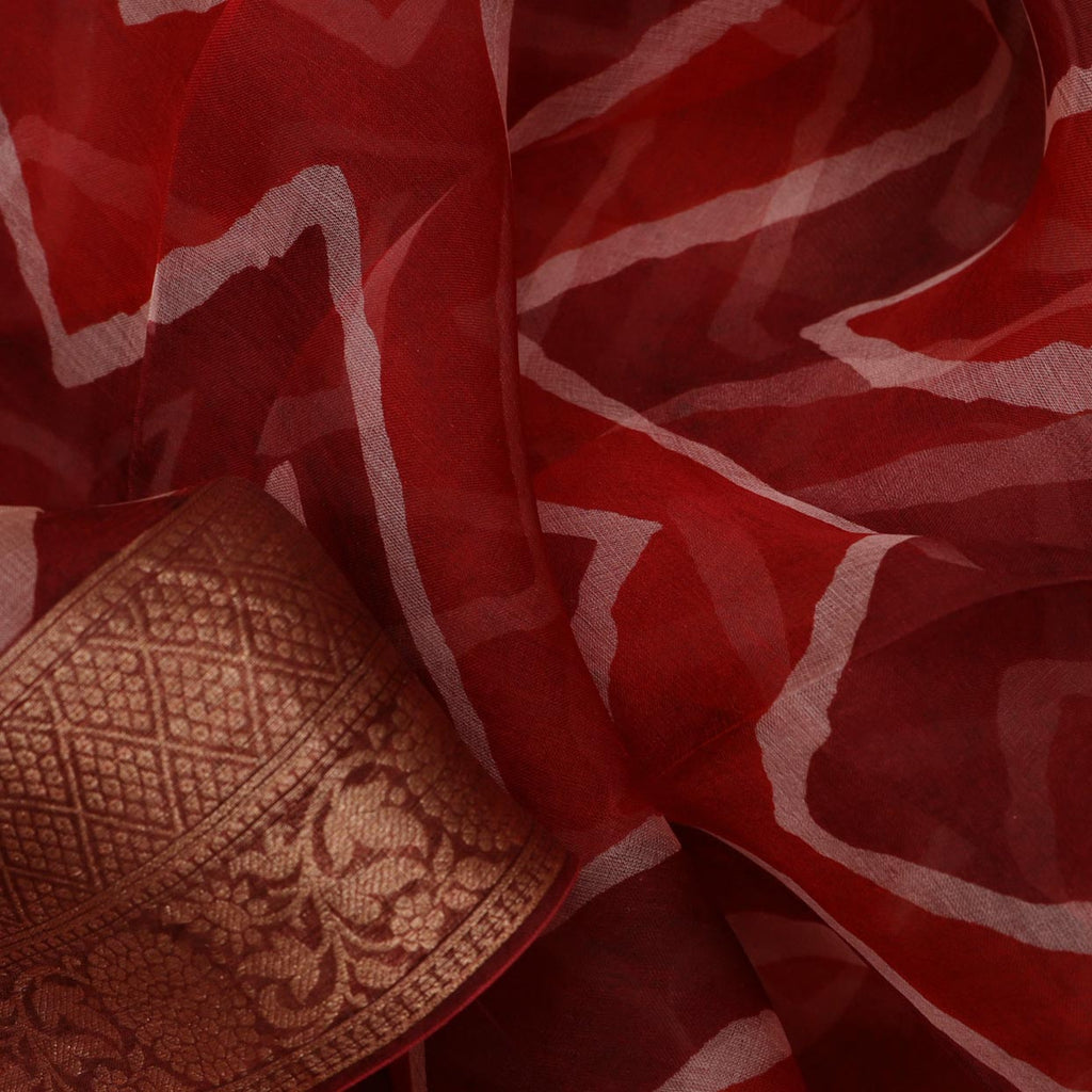 Maroon And Red Leheriya Printed Organza Saree