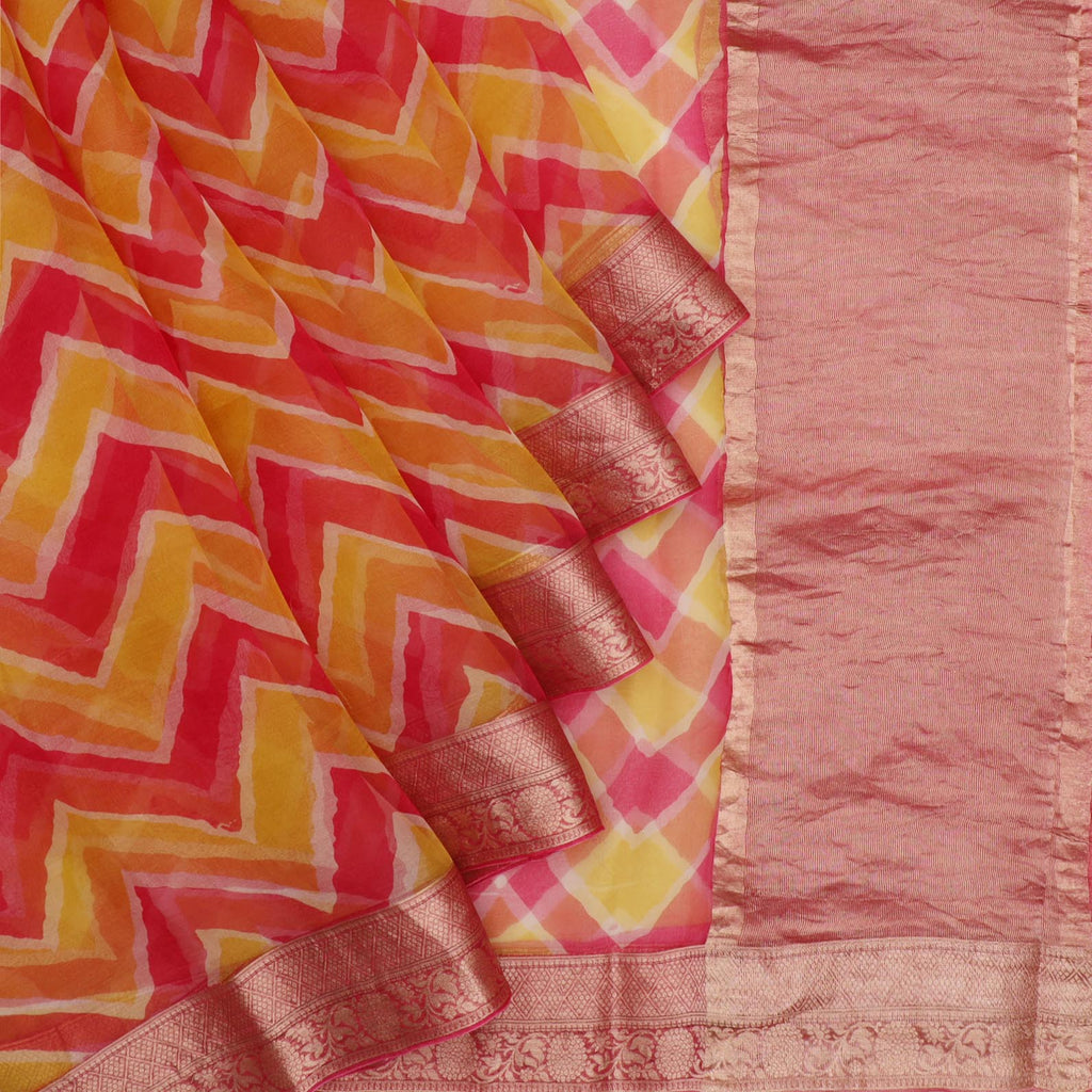 Pink And Yellow Leheriya Printed Organza Saree