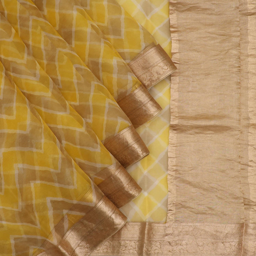 Yellow And Brown Leheriya Printed Organza Saree