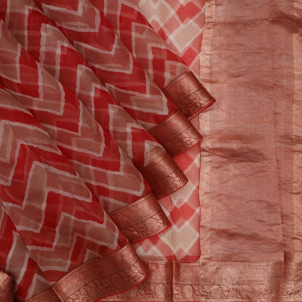 Red And Tan Leheriya Printed Organza Saree