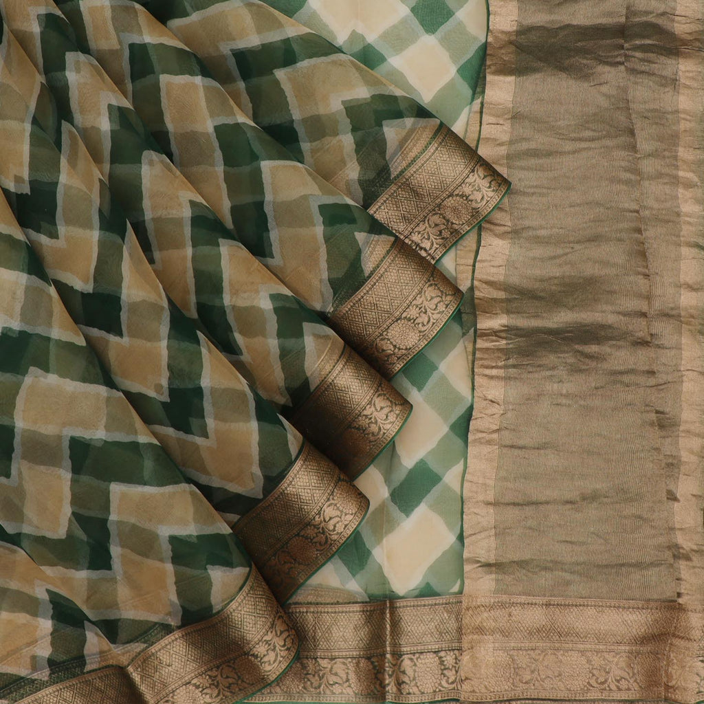 Deep Green And Beige Leheriya Printed Organza Saree