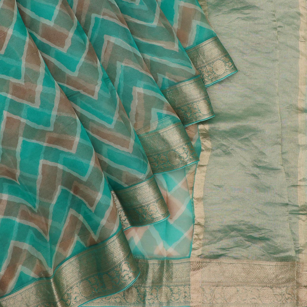 Turquoise And Brown Leheriya Printed Organza Saree