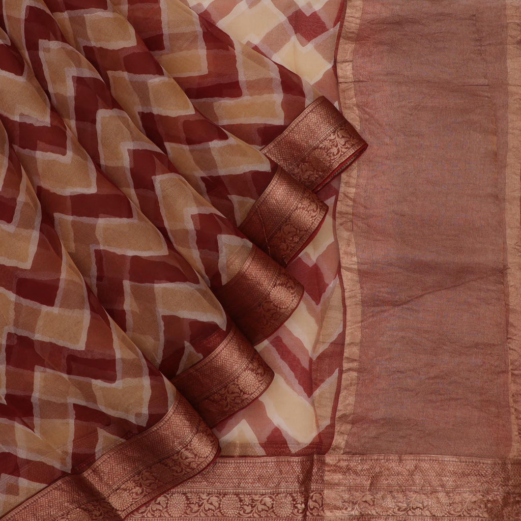 Maroon And Beige Leheriya Printed Organza Saree