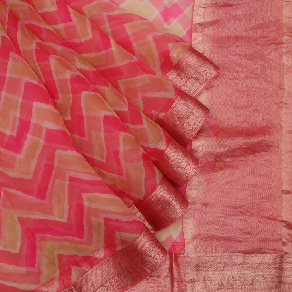 Pink And Beige Leheriya Printed Organza Saree