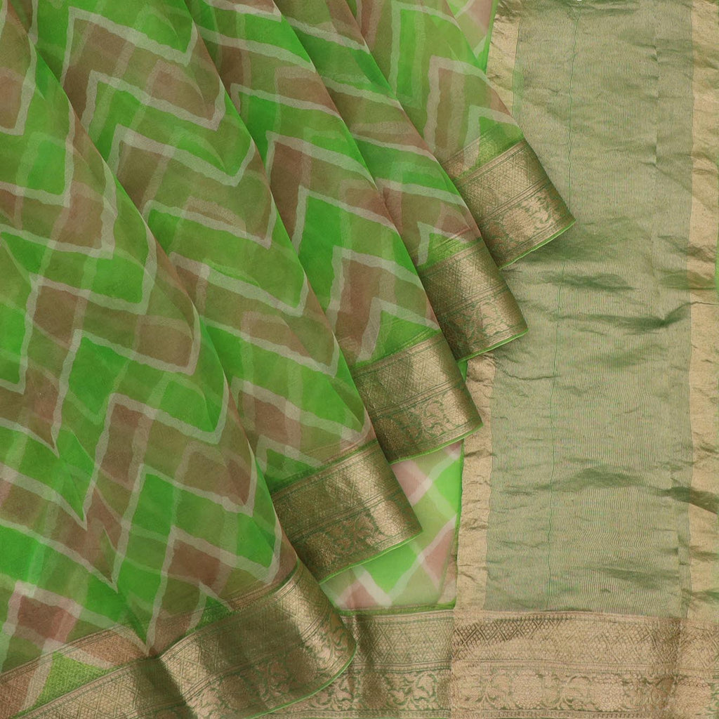 Green And Tan Leheriya Printed Organza Saree