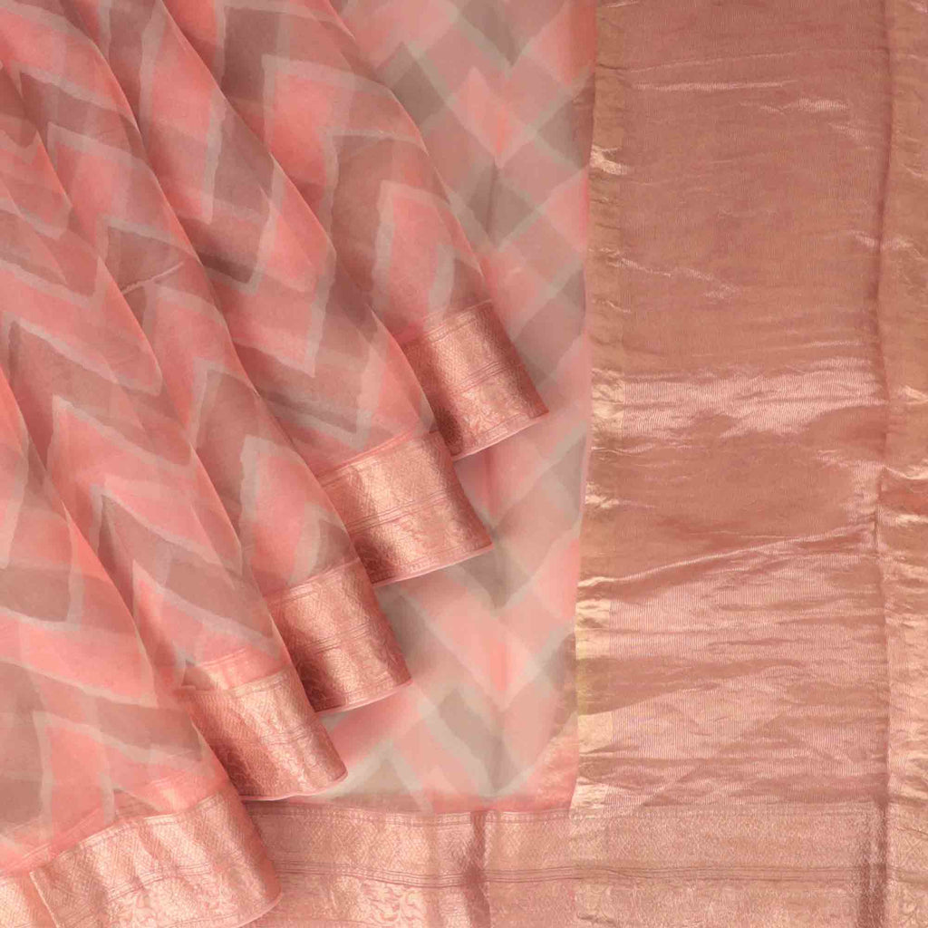 Peach Pink And Deep Grey Leheriya Printed Organza Saree