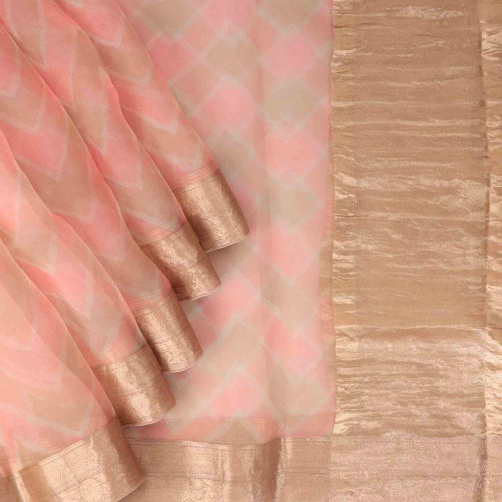 Peach Pink And Beige Leheriya Printed Organza Saree