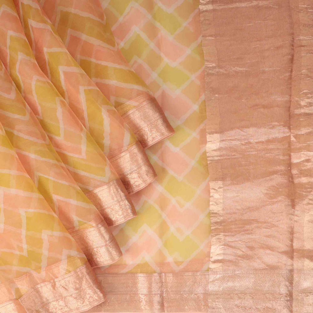 Yellow And Peach Leheriya Printed Organza Saree