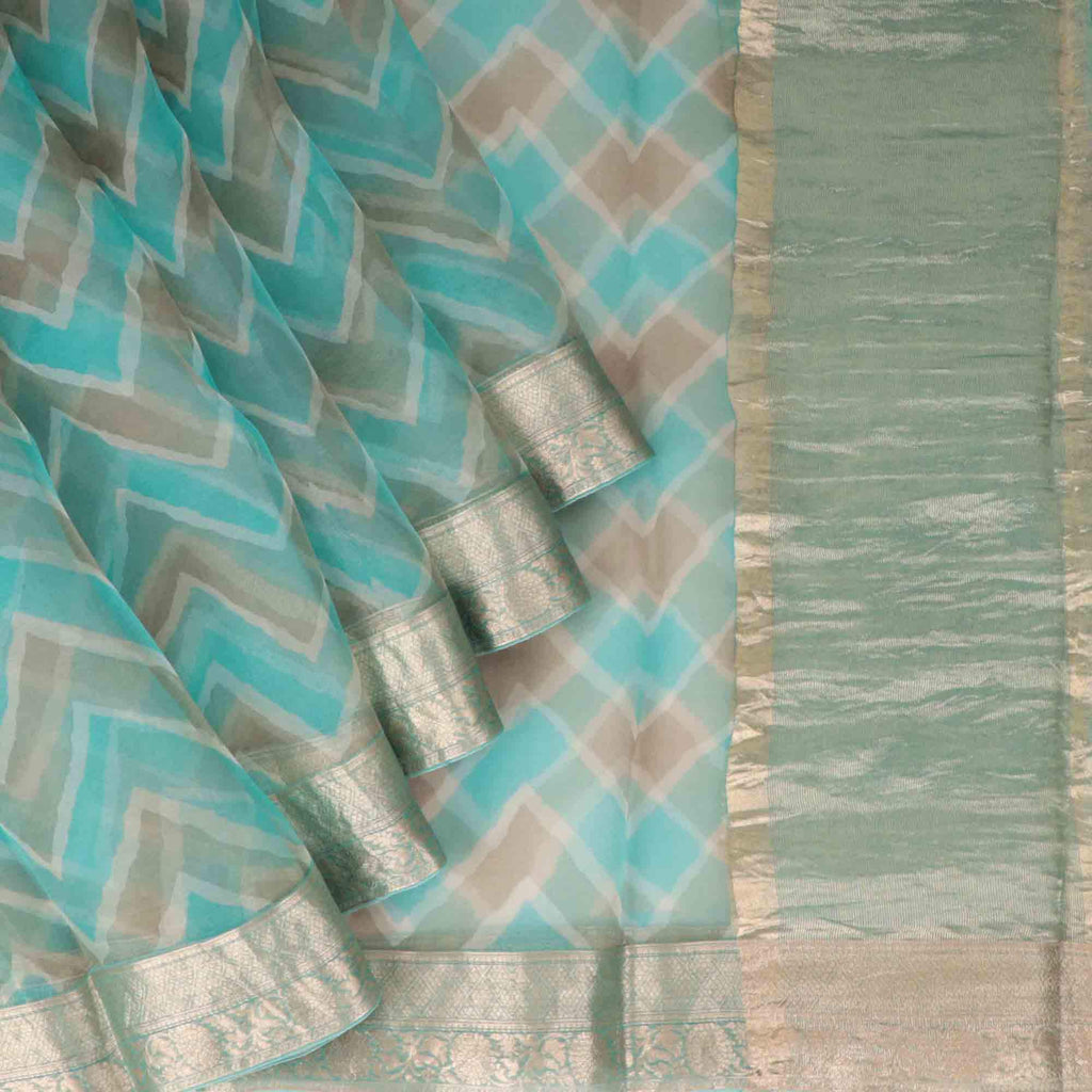 Cyan Blue And Deep Grey Leheriya Printed Organza Saree