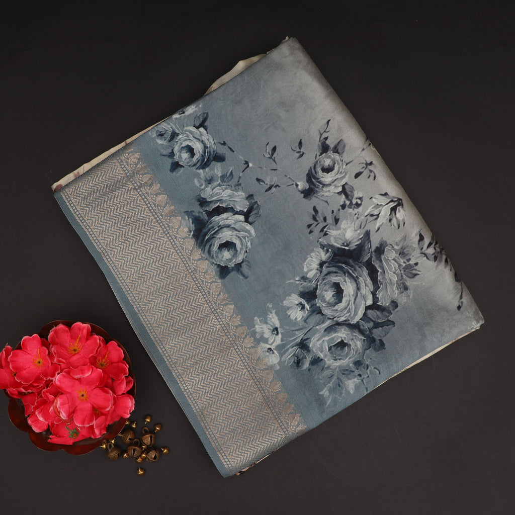 Grey And Cream Ombre Floral Printed Silk Saree