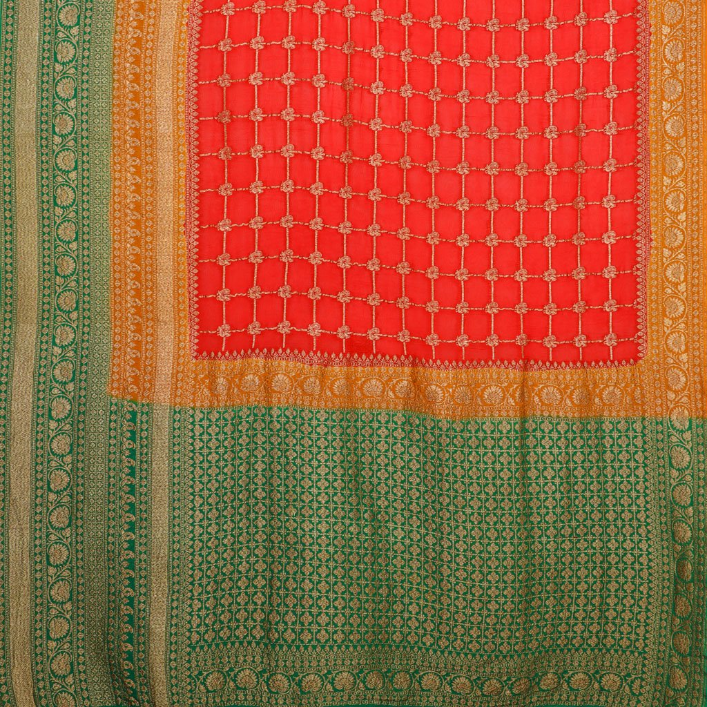 Scarlet Red Banarasi Georgette Saree With Checks