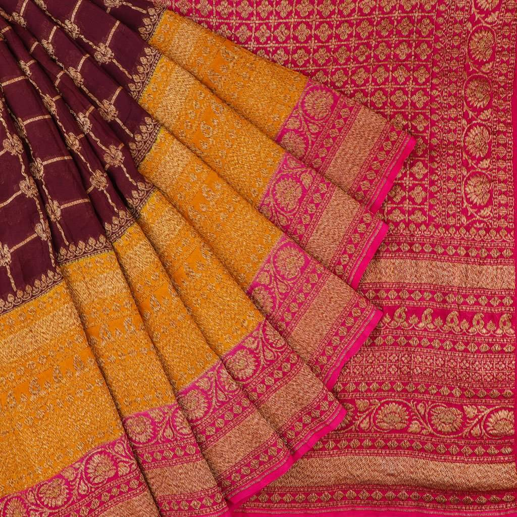 Brown Banarasi Georgette Saree With Checks