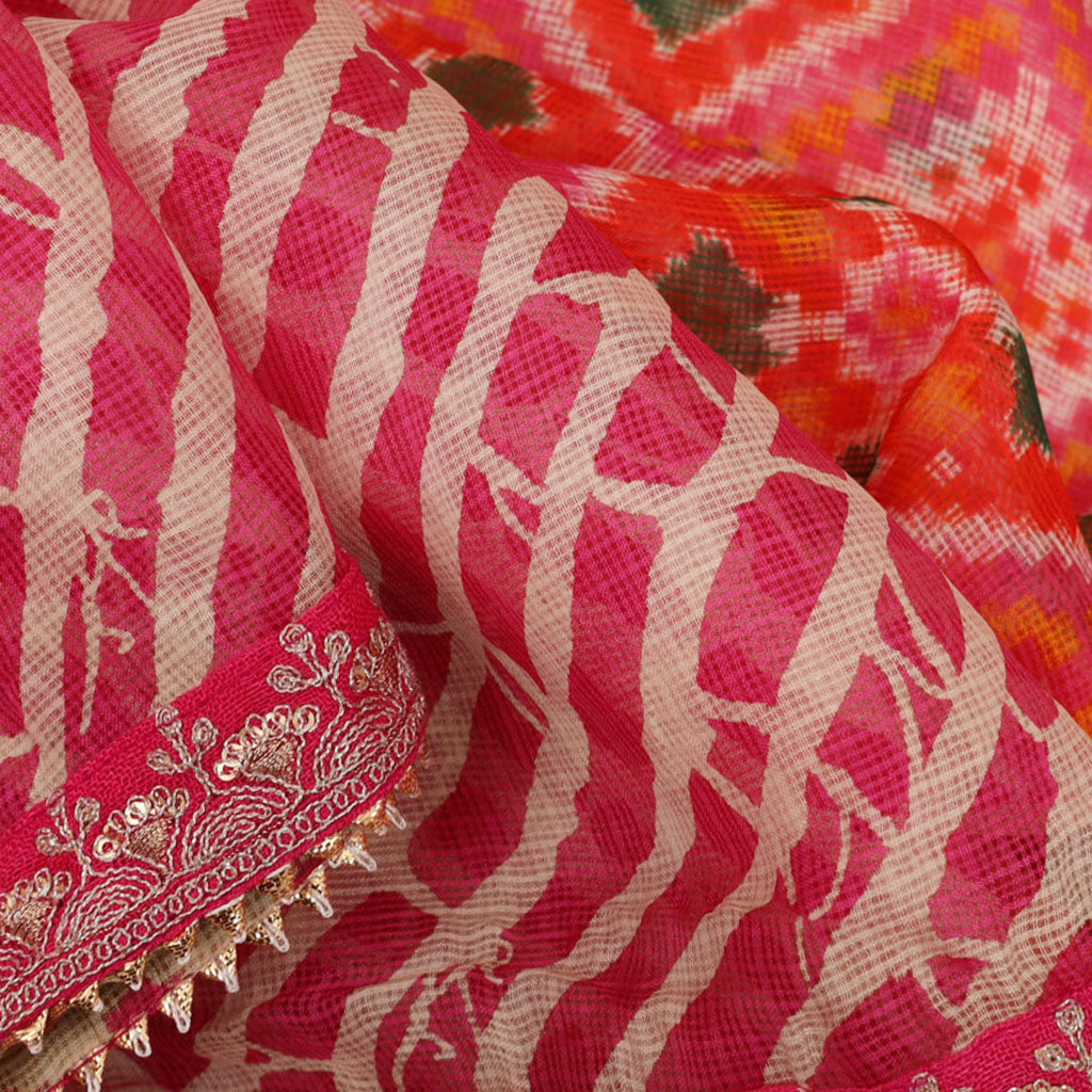 Deep Pink Leheriya And Patola Print Kota Silk Handloom Saree
