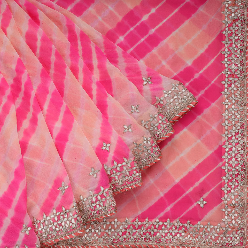 Shades Of Pink Georgette Embroidery Saree With Gotta Patti