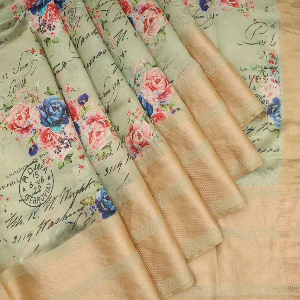 Pastel Green Floral Printed Silk Saree