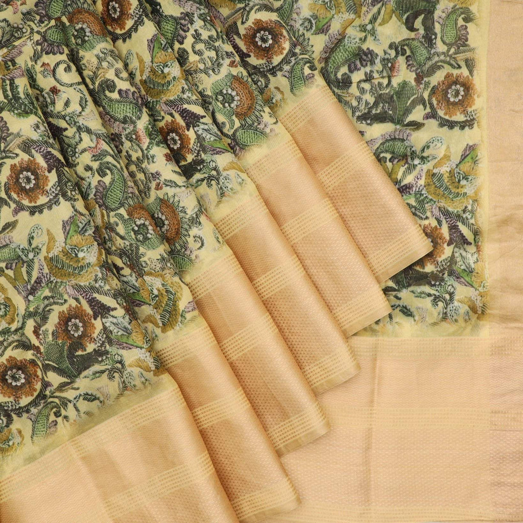 Butter Yellow Floral Printed Silk Saree