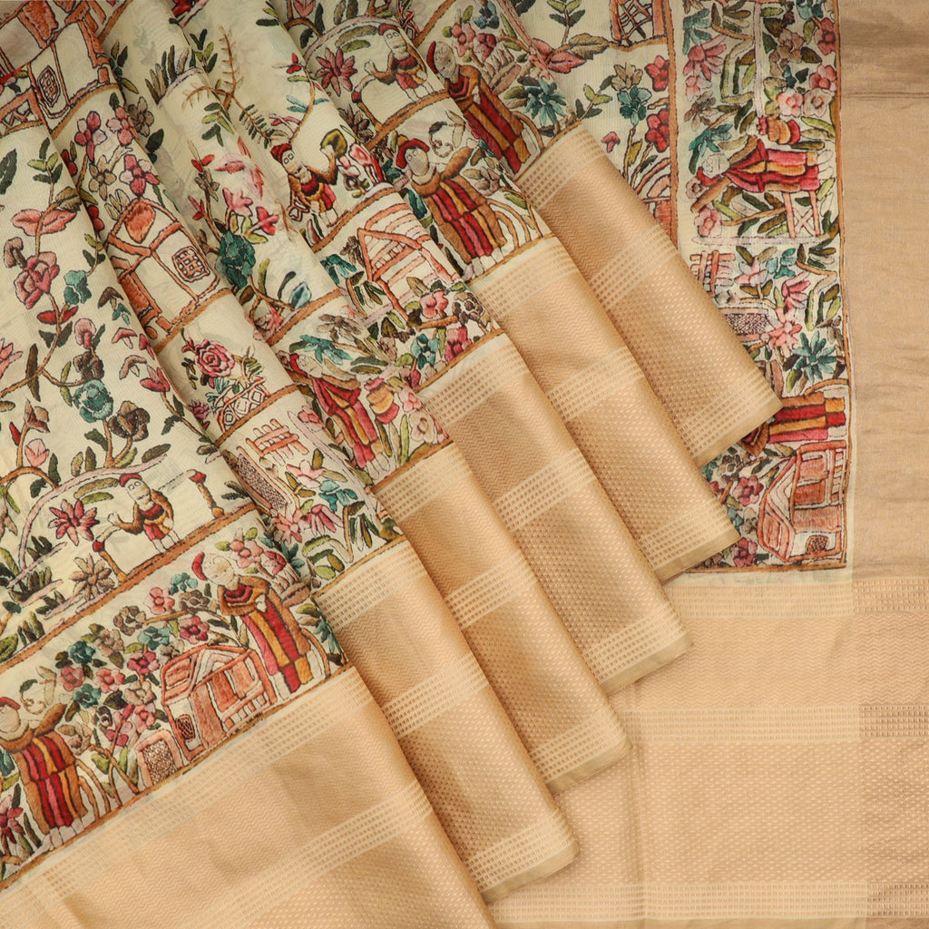 Multicolor Scenery Printed Silk Saree