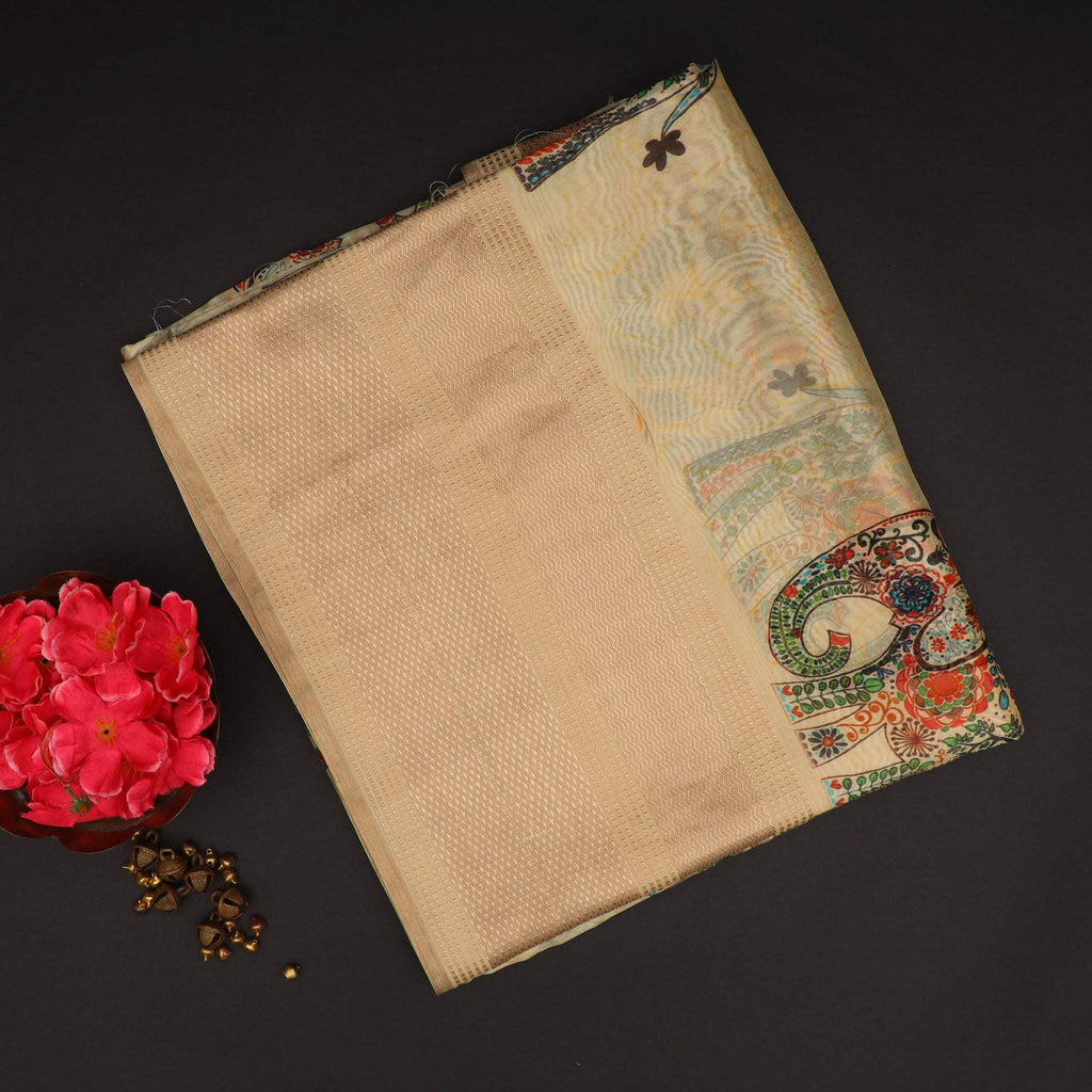 Butter yellow Printed Silk Saree With Elephant Motifs