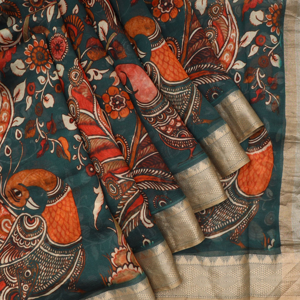 Deep Teal Green Kalamkari Print Silk Saree