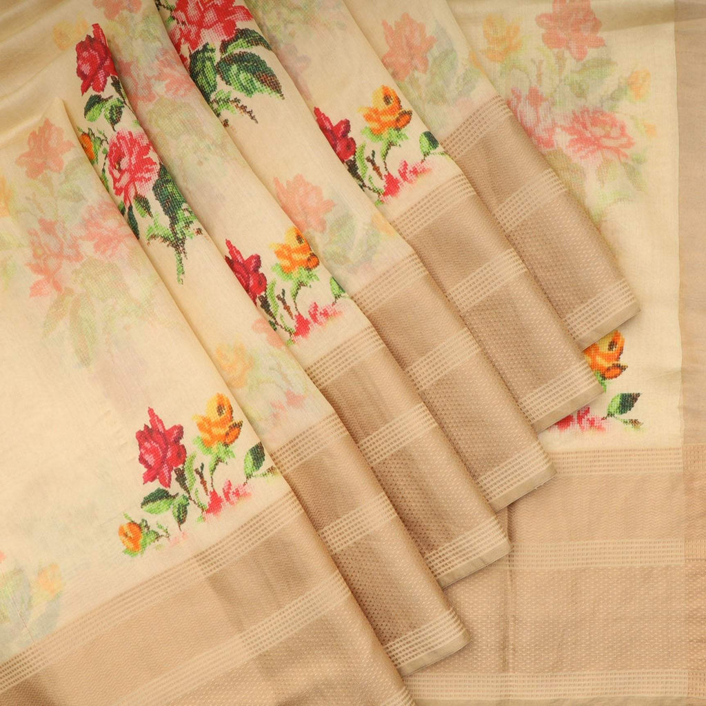 Cream Floral Printed Silk Saree