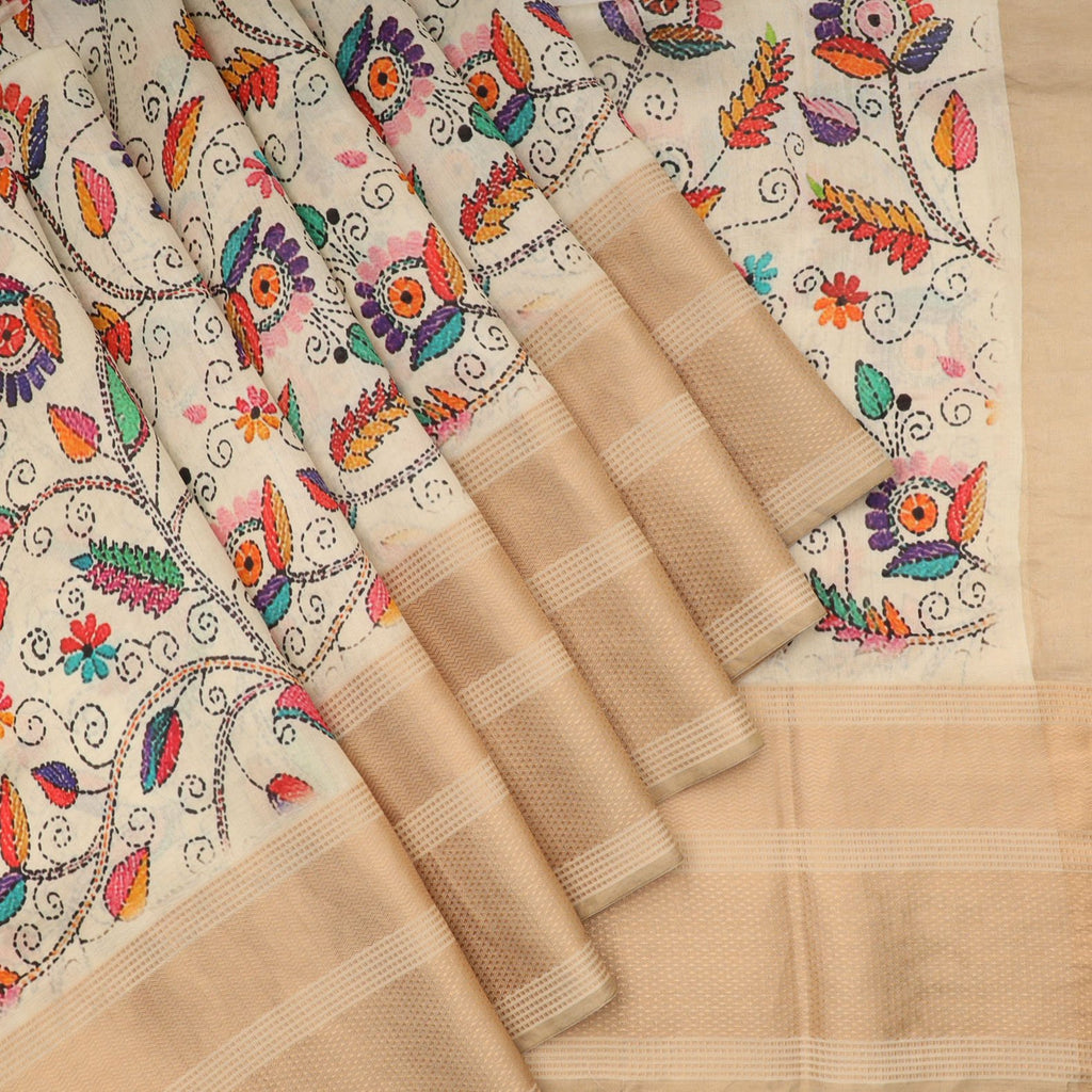 Off-White Floral Printed Silk Saree